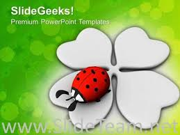 lucky symbols four leaf clover and lady bug powerpoint template