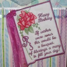 birthday embroidery designs card poem roses keepsake gift in the