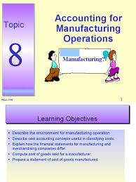 topic 8 accounting for manufacturing operations cost of goods