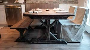 idyllic square reclaimed wood farmhouse table with long wooden