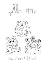 M comme monstre Cursive  Pour les enfants  Coloriages dessins