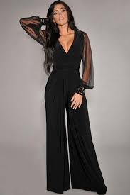 black mesh jumpsuit gold studs cuffs herfashion black mesh sleeves jumpsuit