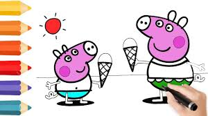 coloring pages peppa pig u0026 drawing for children how to color by