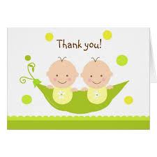 two peas in a pod baby shower two peas in a pod baby shower thank you note card zazzle
