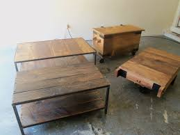 industrial style coffee table reclaimed wood and steel custom