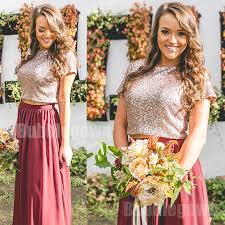 sequin top bridesmaid dresses cheap sleeves two pieces sequin top wedding bridesmaid