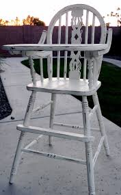 Antique Wood High Chair Little Bit Of Paint Refinished Antique High Chair