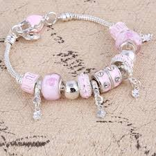 bracelet charm beads silver images Crystal charm beads silver bracelets bangles for women herinstyle jpg