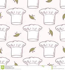 Kitchen Background Seamless Pattern With Hand Drawn Chef Hat Kitchen Background