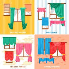 curtains for windows 2x2 design concept u2014 stock vector