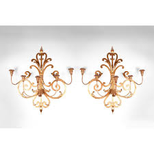 Wrought Iron Candle Wall Sconces Pair Of Mid 20th C Italian Gilded Wrought Iron Wall Sconces From
