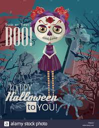 happy halloween vector happy halloween vector invitation card with zombie stock vector