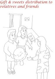 sweet distribution on diwali coloring page for kids