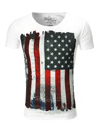 White American Flag Largo T Shirt With American Flag Usa White