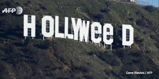 pranksters change iconic hollywood sign to