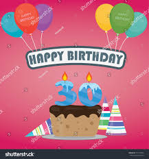 birthday cake candle number 30 flat stock vector 577315894