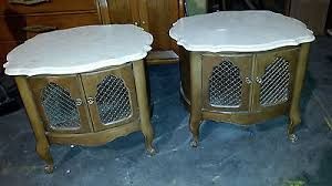 Antique Marble Top Nightstand Antique Pair French Provincial Nightstands Marble Tops End Table