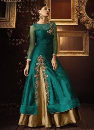 anarkali wedding dress teal green bridal wear anarkali suit with material
