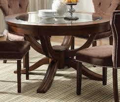 Round Glass Top Pedestal Table Acme Kingston Glass Top Round Pedestal Dining Table In Brown