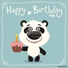 happy birthday funny panda bear with birthday cake greeting card