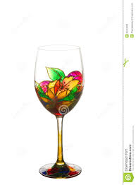Beautiful Wine Glasses Beautiful Painting Stained Glass Of Wine Glass Stock Photos