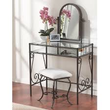 Glass Vanity Table With Mirror Linon Angelica Glass Top Metal Vanity Table Stool U0026 Mirror Free