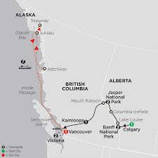 Alaska City Map by Cosmos Canadian Rockies With Alaska Cruise
