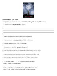 an inconvenient truth worksheet atmosphere of earth change