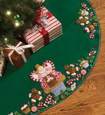 bucilla seasonal felt tree skirt kits plaid craft products