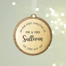 first married christmas personalised wooden bauble by
