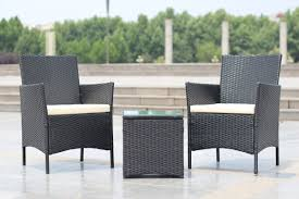 Black And White Patio Furniture Ebern Designs Walker Handmade 3 Piece Compact Outdoor Indoor