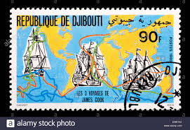 Djibouti Map Postage Stamp From Djibouti Depicting A Map Of The Three Voyages