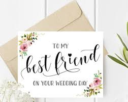 wedding card for best friend wedding etsy