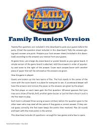 family reunion family feud printable game family picnic