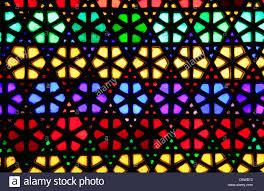 beautiful geometric pattern of stained glass window stock photo