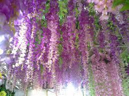 Marriage Home Decoration Silk Flower Long Artificial Wisteria Vine Rattan For Wedding