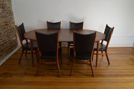 Dining Table And Six Chairs Rare Danish Modern Walnut Dining Set With Extension Table And Six