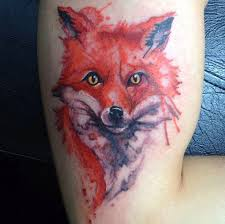 watercolor animal tattoo on backbody real photo pictures images