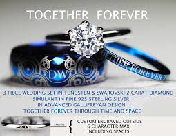 doctor who engagement ring doctor who inspired his 8mm tungsten and hers 2 carat