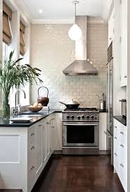 transitional white kitchen with tile wall love the tan window