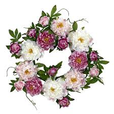 amazon com nearly natural 4788 peony wreath 22 inch pink home