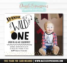 printable black and gold wild one 1st birthday invitation boys