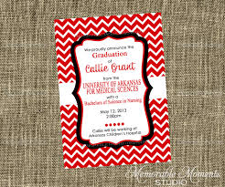 nursing graduation announcement wording printable invitations red white and black chevron party