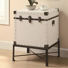 trunk style bedside tables coaster furniture 902819 trunk style accent side table in white