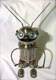 Serre Livre Geek Robot Glouton Sculpture Métal Recyclé Sucrier Porte Couvert