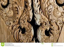 beautiful wood carving in local style background stock photo