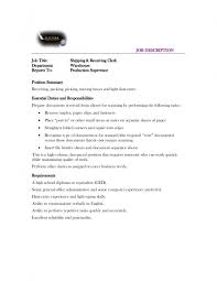 Stock Clerk Job Description For Resume by Shipping Receiving Clerk Resume Free Resume Example And Writing
