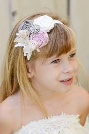 flower girl headbands headband gray pink rhinestone brooch lace bridal
