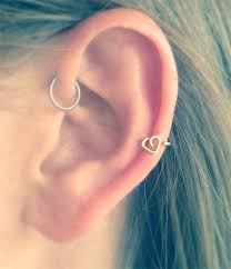heart cartilage heart helix earring in silver gold or gold cartilage