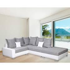 canapé avec pouf canapé angle droit gris et blanc avec pouf dya shopping fr